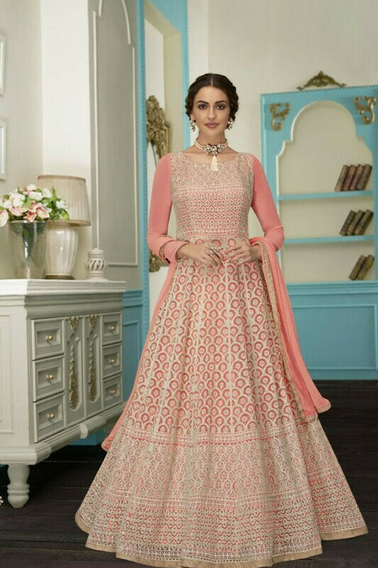 Majesty Faux Georgette Pink Color Embroidery Work Gown