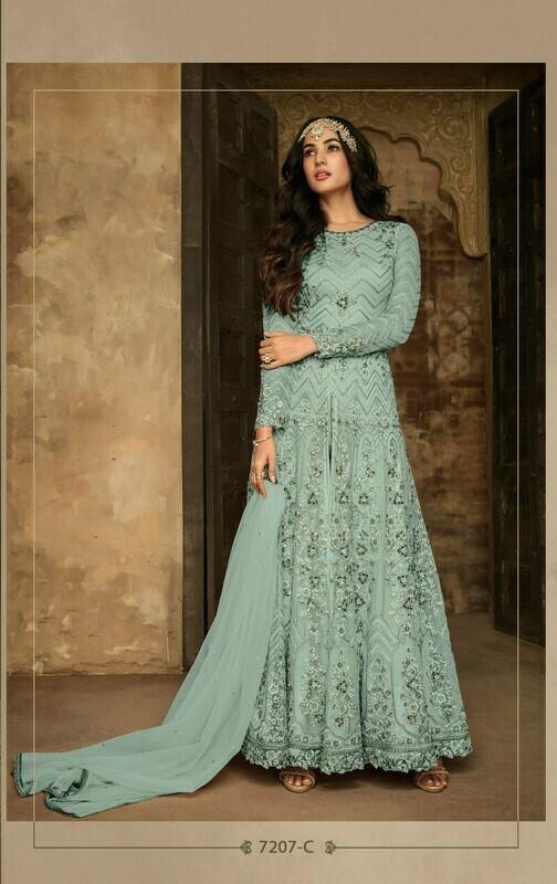 Amazing Sky Blue Net Embroidered Anarkali Suit