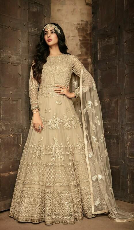 Blissful Heavy Net Beige Color Embroidered Anarkali suit