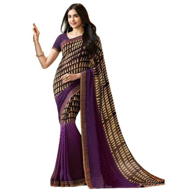 Precious Gorgette Casual Wear Purple Printed Saree