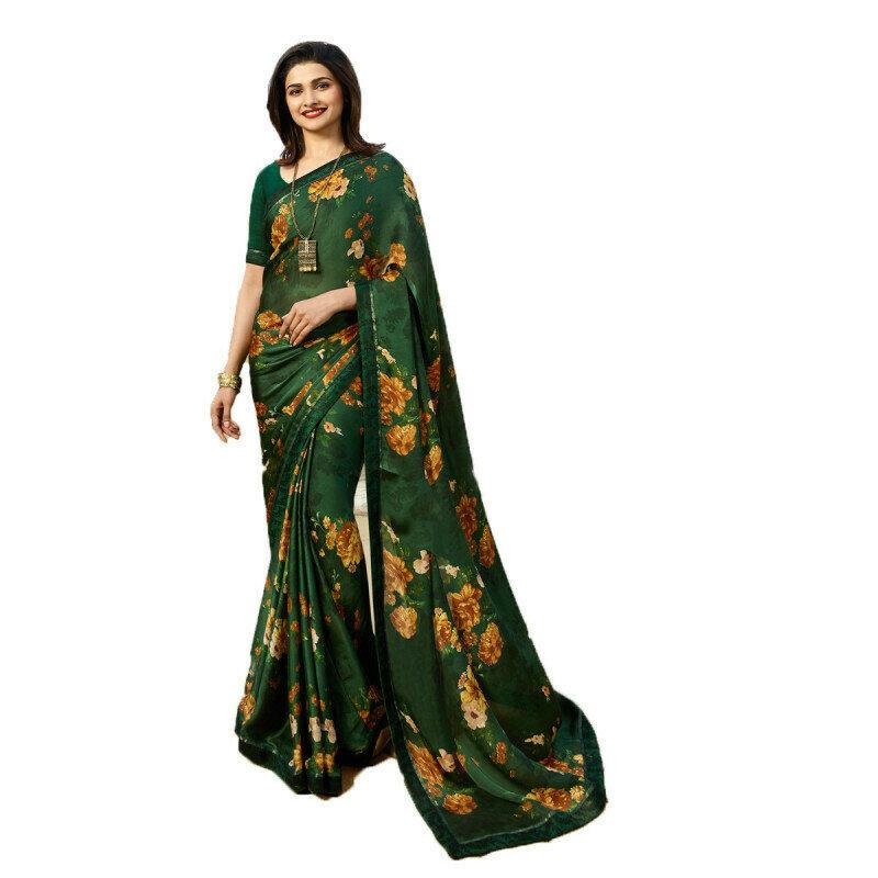 Prachi Desai Green Color Party Wear Printed Saree