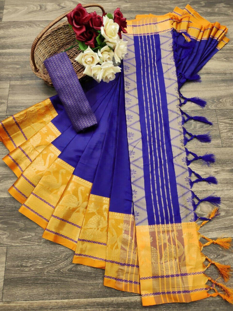 Graceful Jacquard Border With Silk Blue Saree