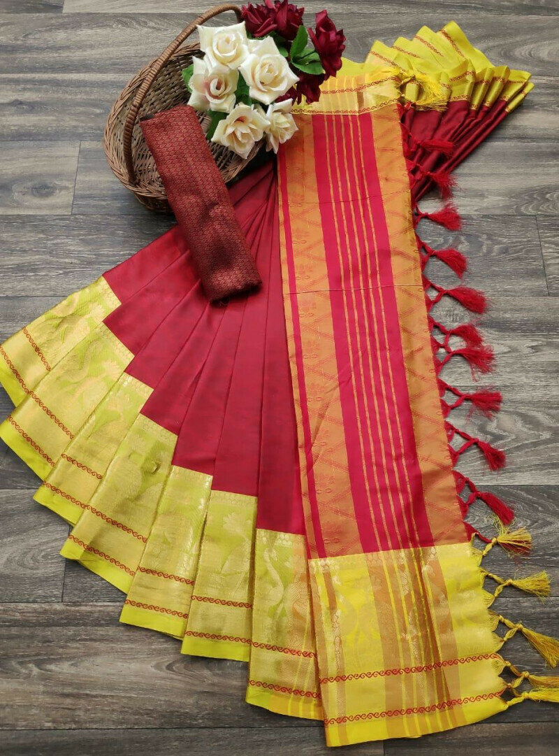 Graceful Jacquard Border With Silk Red Color Saree