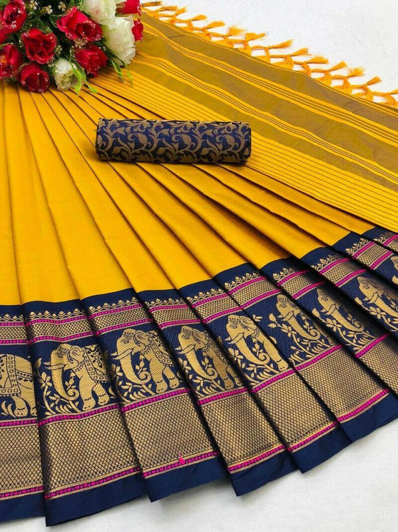 Exotic Cotton Silk Yellow Elephant Jaquard Border Saree