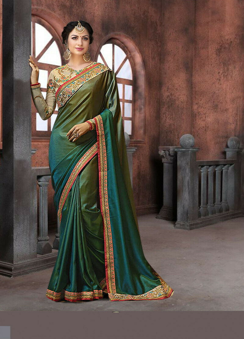 new rangoli padding georgette silk green shades color saree