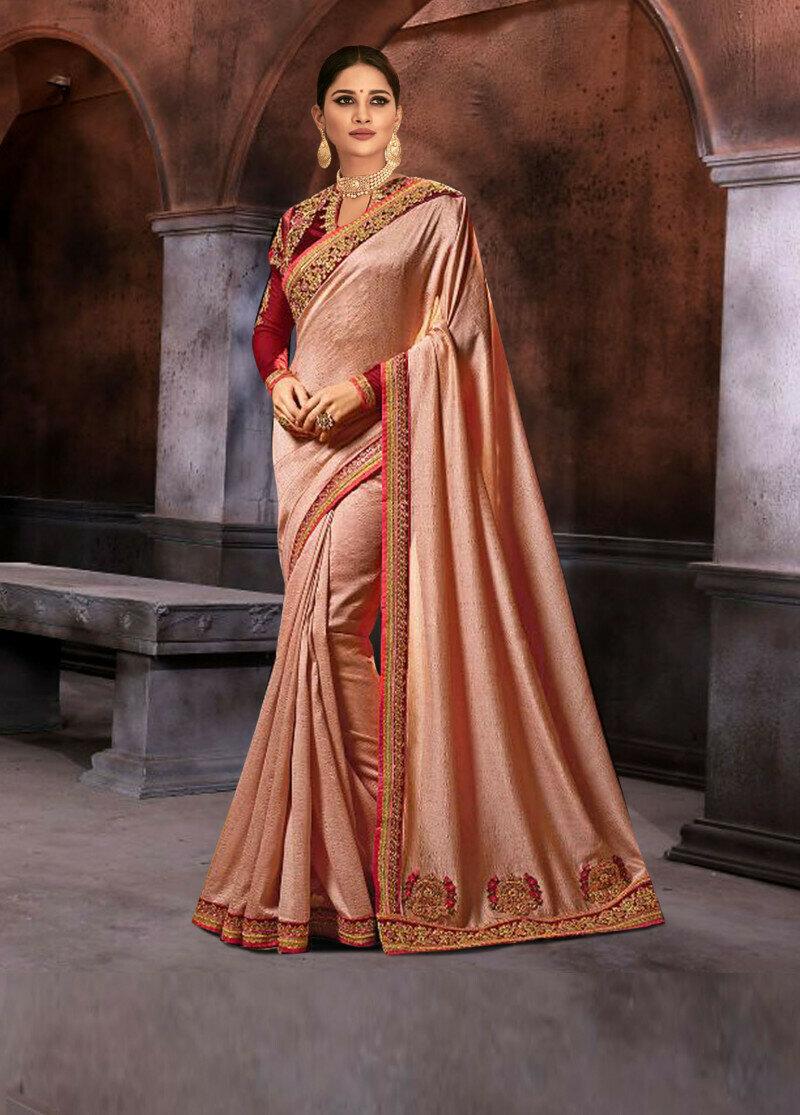 exclusive sana silk peach thread work saree