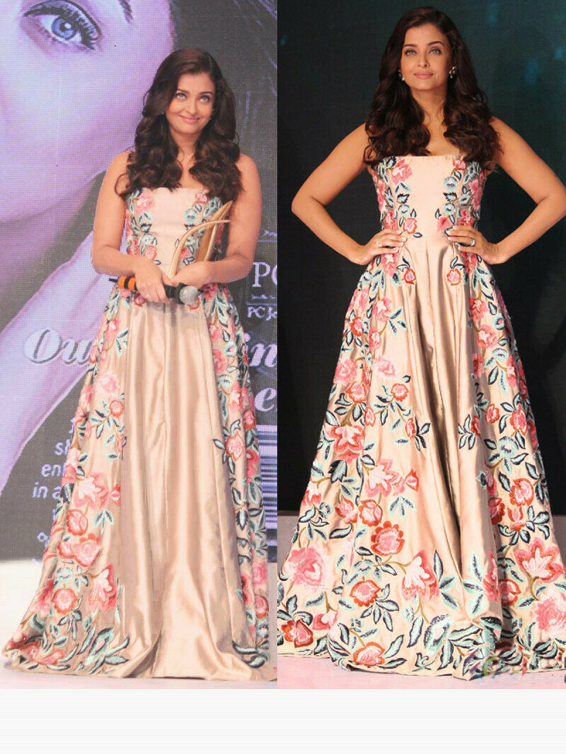 clebrity wear peach color full gown