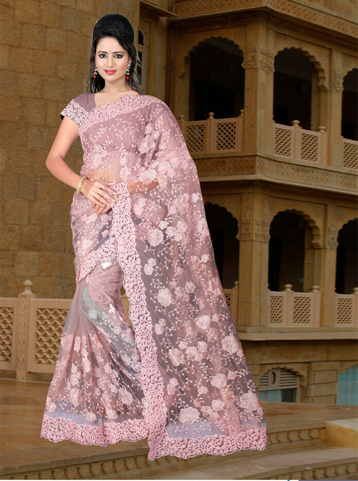 excellent pink nylon mono net thread work saree