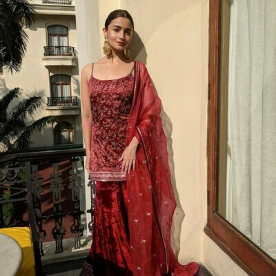 alia bhatt wear red color embroidered palazzo suit