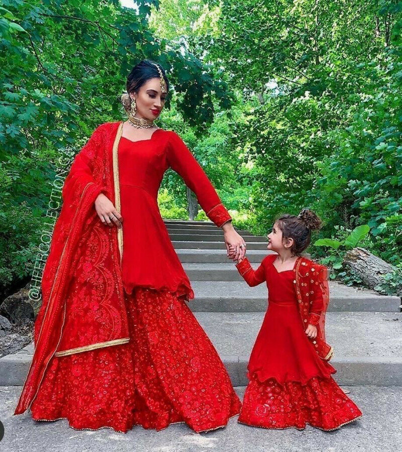 Sophisticated Mother Daugther Georgette Red Sharara Suit