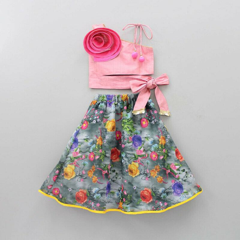 Demanding Pink Top Gery Lehenga With Flower For Girls