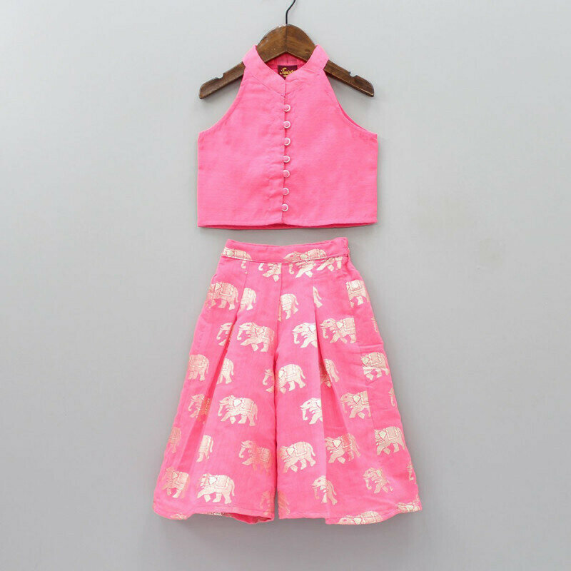 Sizzling Sleeveless Pink Top Elephant Print Palazzo For Kids