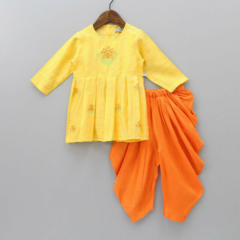 Heavy Floral embroidered Checks Yellow kurta Patiala For Kids