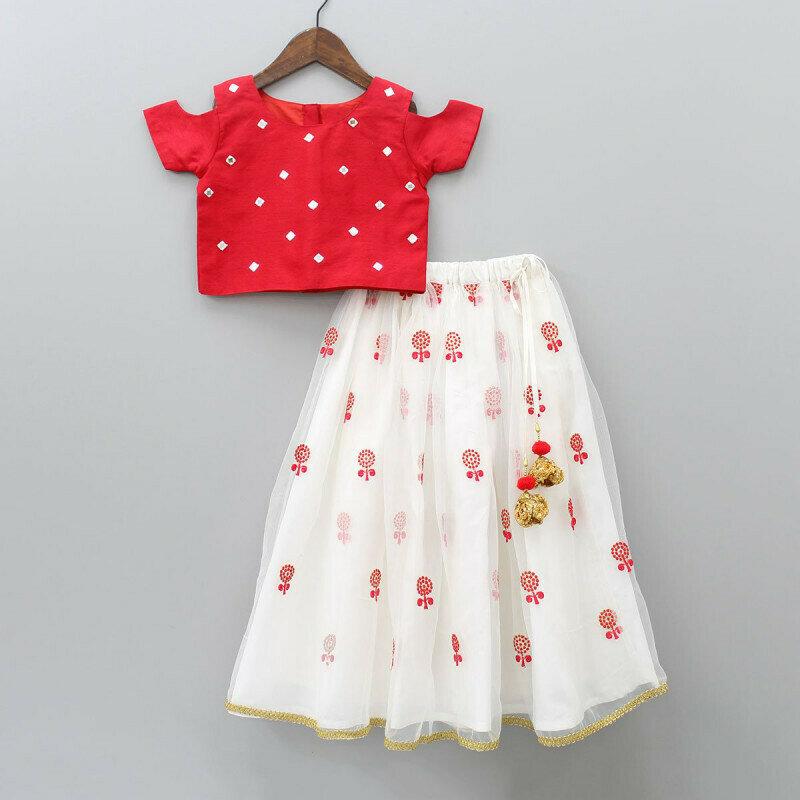 Attarctive Red And White Amazing Lehenga Set For Kids