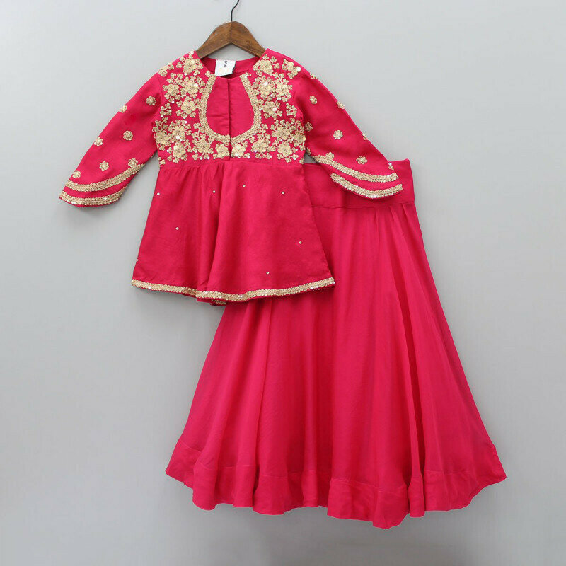 Attarctive Floral And Embroidered Top And Lehenga For Kids