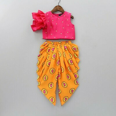 Fantastic Hot Pink Top With Lotus Printed Dhoti Suit For Kids