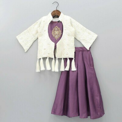 Heavy Sequence Work Palazzo Suit With Jacket For Kids