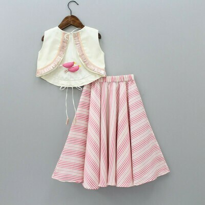 Stylish Organic Backless Top Striped Lehenga For Girls