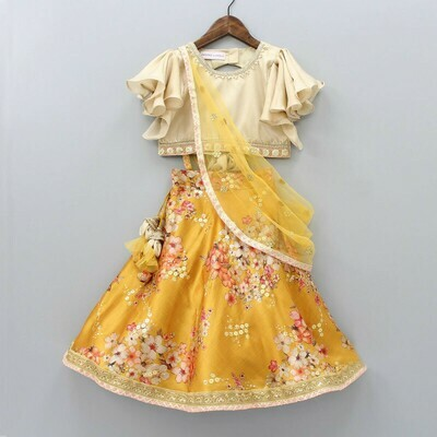 Attarctive Top With Attached duppatta And Floral Print Lehenga For Girls