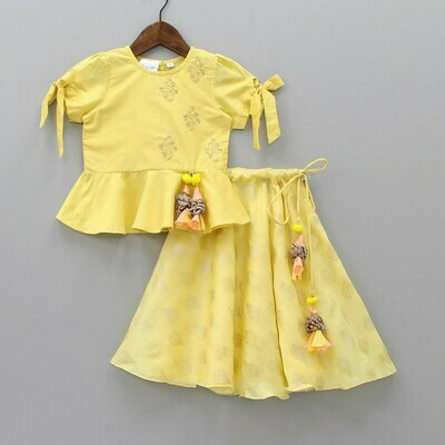 Fabulous Embroidered Yellow Top And Printed Lehenga For Girls