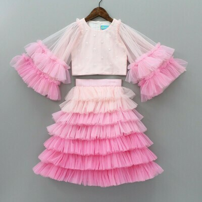 Adoring Pink OMbre Waterfull Skirt Set For Kids