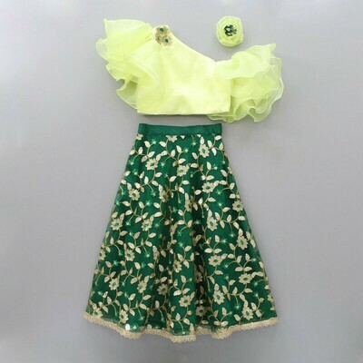 Majesty Yellow Floral embroidered Top Green Lehenga For Girls