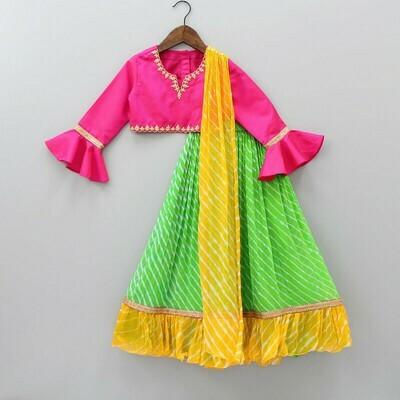 Blushing Pink Crop Top And Leheriya Print Lehenga For Kids