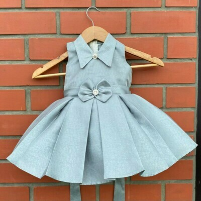 Glossy Grey Color Classic Bow Dress For Kids