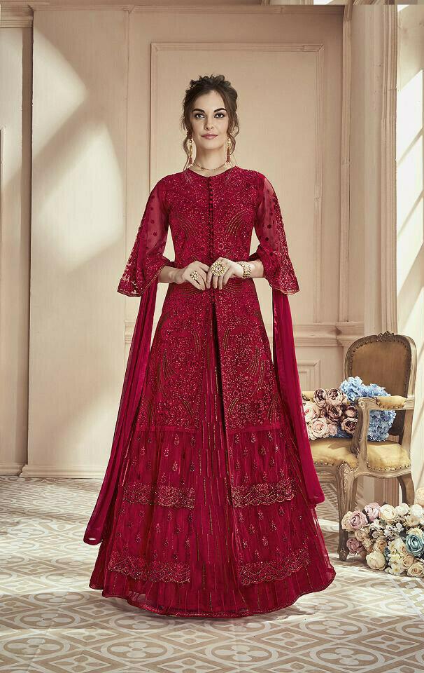 Designer Fantastic Red Colored Wedding Wear Embroidered Georgette Anarkali Suite