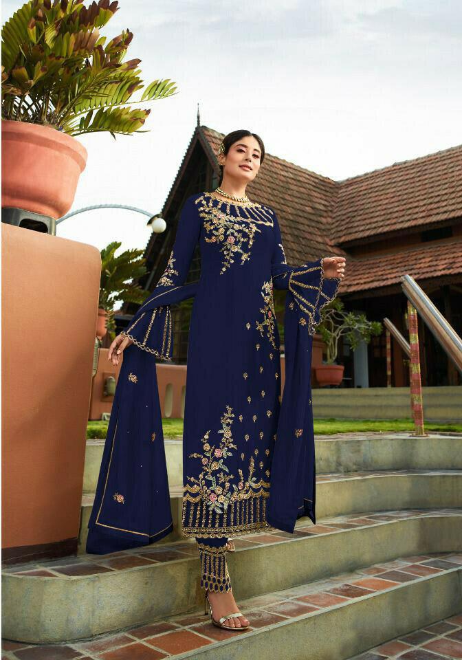 Designer Marvellous Navy Blue �Colored Wedding Wear Embroidered Georgette Anarkali Suite