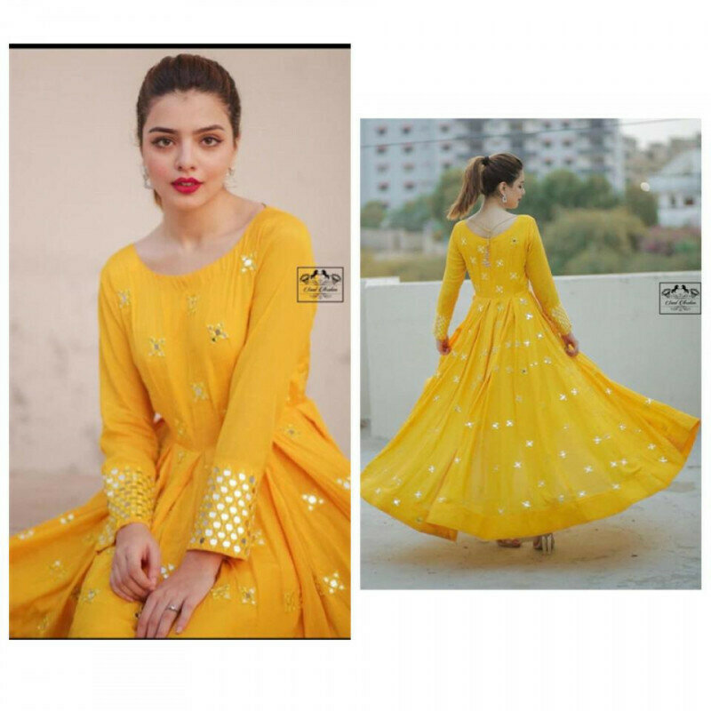 Ethnic Wonderful Amazing Yellow Color Embroidery Work Party Wear Anarkali Suit
