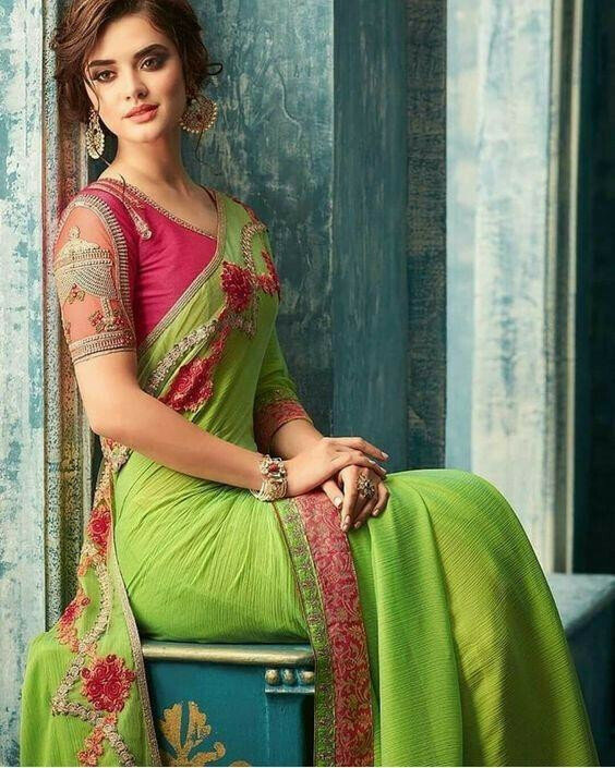 A green and pink colour Beautiful silk saree for women