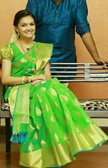Adorning Light Color Designer zarna silk saree