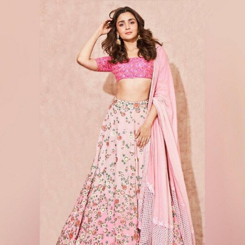 Alia bhatt beautiful baby pink digital printed girlish lehenga choli