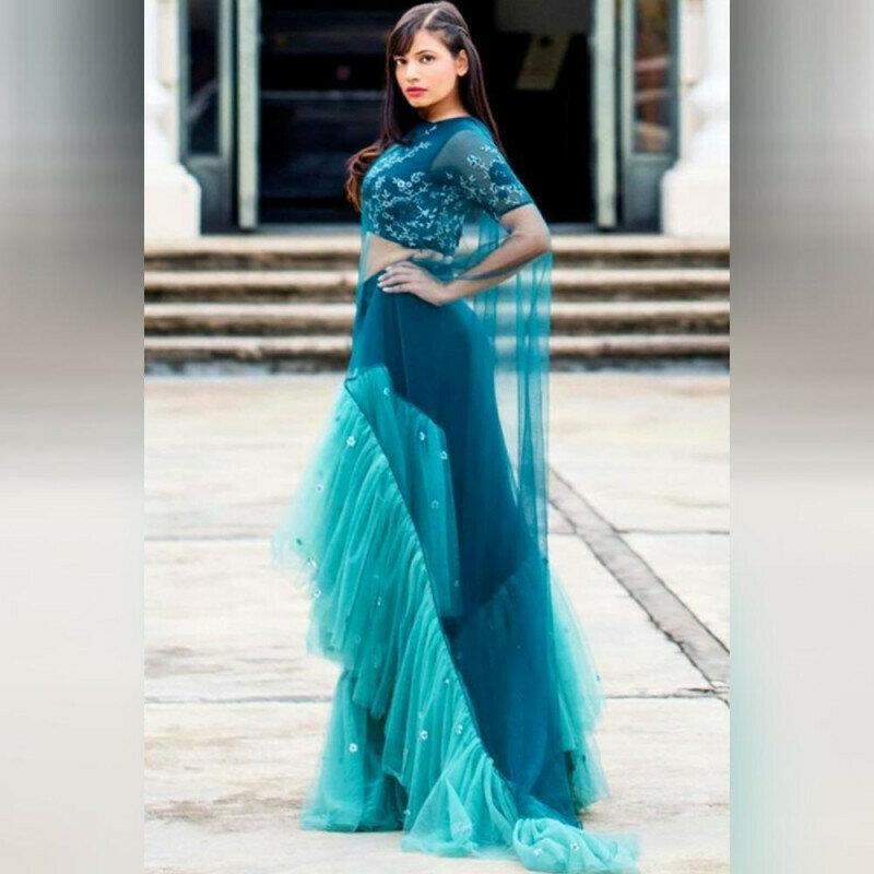 Alluring Blue Colored Net Designer Saree