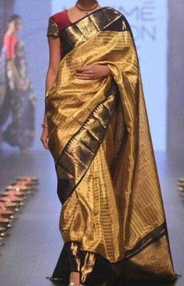 Alluring Gold Color Soft Silk Designer Sarees