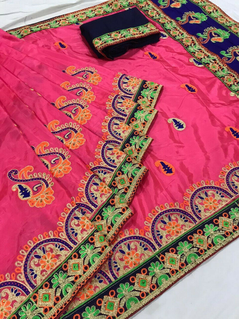 Alluring Pink Silk With Embroidered Work Designer Saree