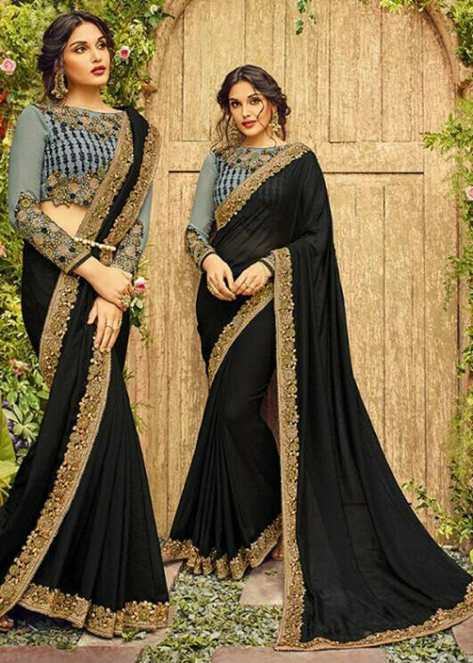 Amazing Black Colour Georgette With Embroidery Work Party Wear Saree