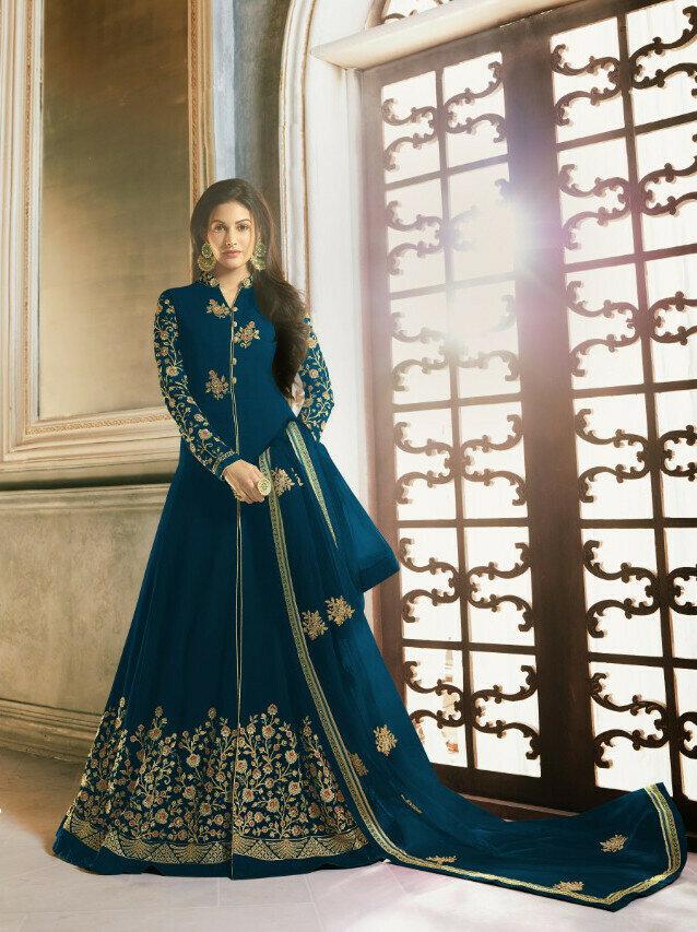 Amazing Embroidery Work Rama Color Anarkali Suit