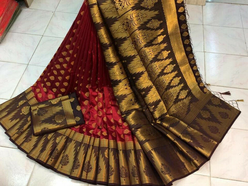 Amazing Maroon Nylon Silk With Rich Pallu fancy designer saree
