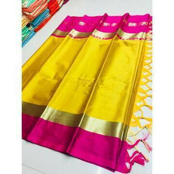 Amazing Mustard And Pink Color Silk Designer Saree