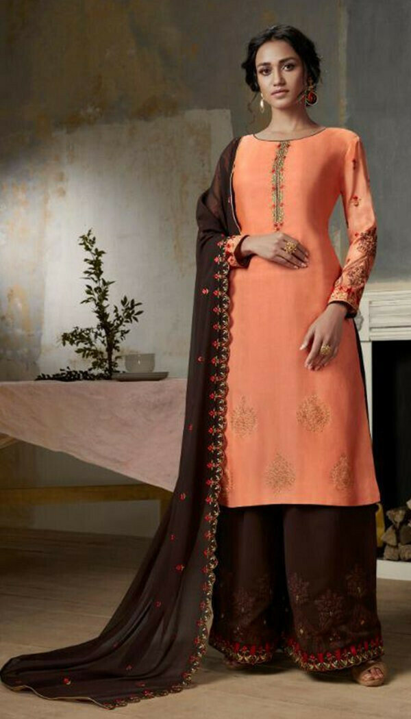 Appealing Pink Colored Georgette Embroidary Work Plazzoo Salwar Suit