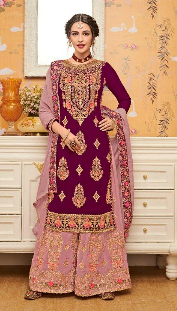 Appealing Purple Colored Georgette Embroidary Work Plazzoo Salwar Suit
