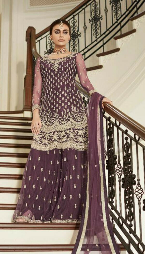 Attractive Purple Colored Georgette Embroidary Work Sharara Suit