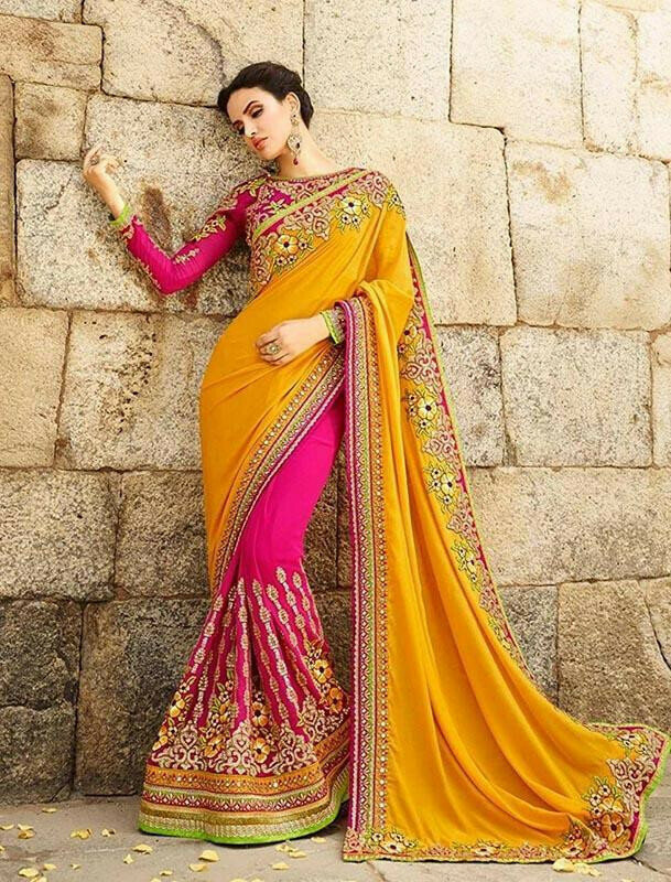 Attractive Yellow Colored Partywear Embroidered Georgete Saree
