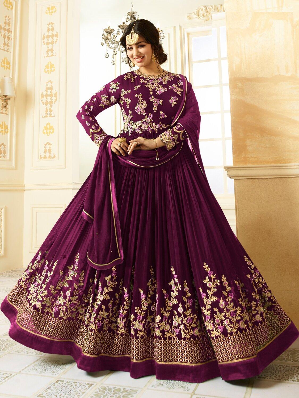 Ayesha TakiaDesigner Faux Georgette Purple Heavy Embroidered Salwar Suit