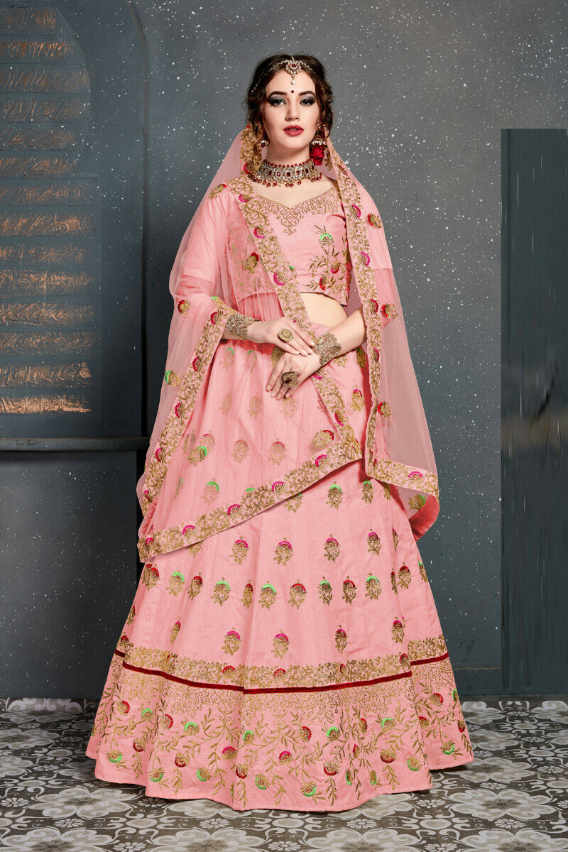 Baby Pink Colored Designer Embroidery Work Lehenga For Girls