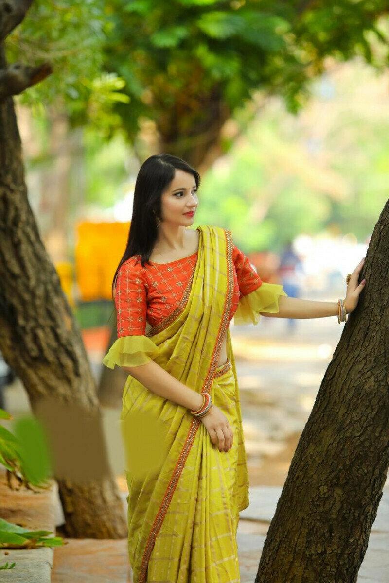Banglori Silk With Heavy Embroidery With Ruffle Sana Silk Saree (Yellow)