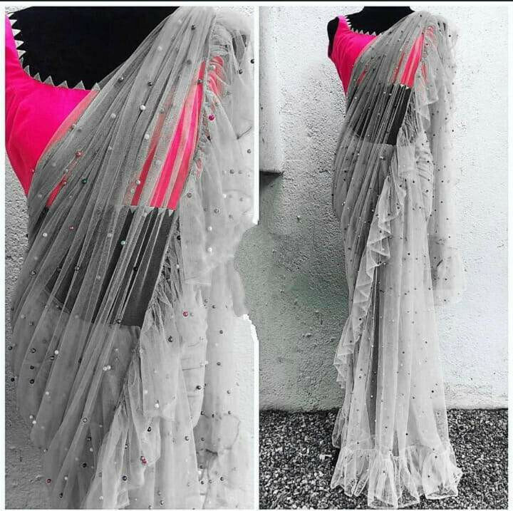 Beauteous Grey Net Ruffle With Multi Moti Work Designer Saree