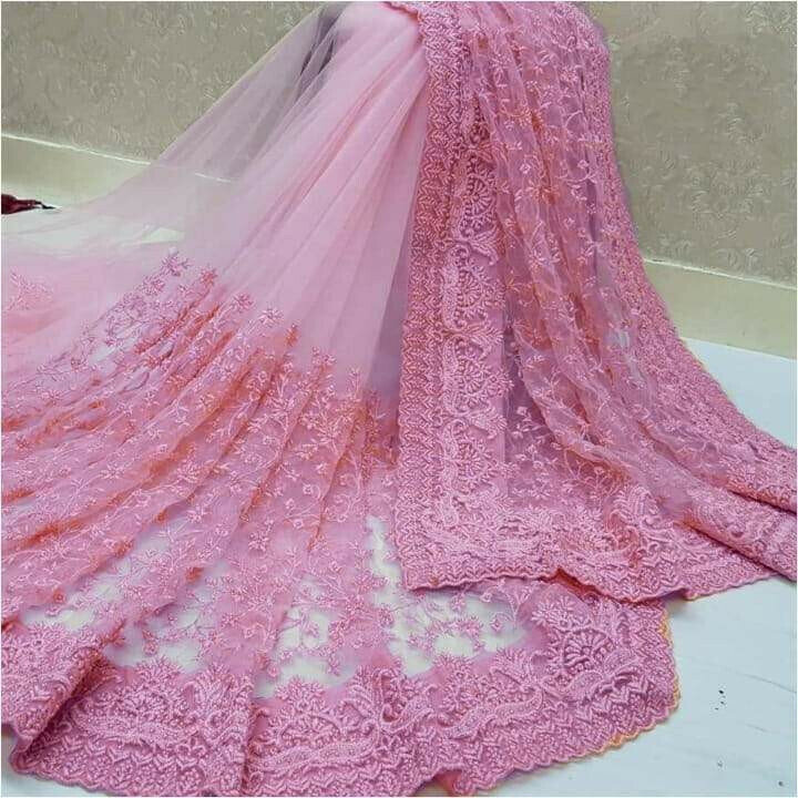 Beauteous Pink Nylon Net With Embroidered Work Designer Saree